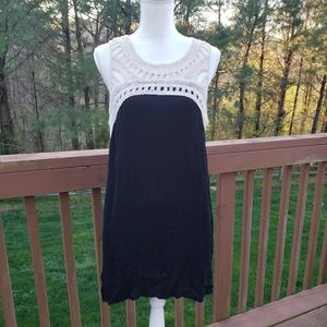 Black Cream Crochet Cotton Boho Festival Dress